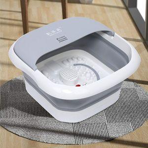 500W Faltbar Fußsprudelbad Fußmassage Fußbadewanne Fuß-Massage-Gerät Fußbad,für Stress abbauen (grau)