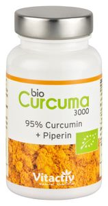 CURCUMA 3000, hochdosierte Kurkuma Kapseln, mit Piperin, sehr gute Bioverfügbarkeit, 95% Curcumin-Gehalt (3000 mg Pulver)