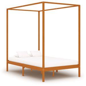 Modernem - Himmelbett-Gestell Bettgestell Honigbraun Massivholz Kiefer 140 x 200 cm - Doppelbett Designbett Jugendbett