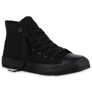 Mytrendshoe Damen High Top Sneakers Stoffschuhe Trendfarben Sportschuhe 814973, Farbe: Schwarz, Größe: 37