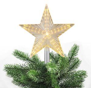 Christbaumspitze Stern beleuchtet 22 cm Warmweiß oder Weiß Weihnachtsbaum Spitze 31 LEDs mit Lauflicht, Farbe:Warmweiß