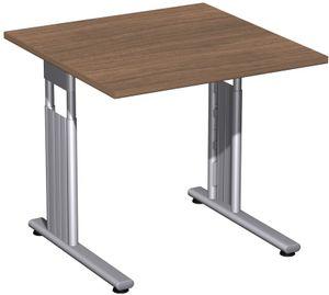 C-Fuß Flex Schreibtisch, gerade, höhenverstellbar, verschiedene Größen und Farben, Farbe:Nussbaum, Größe Tischplatte:80 x 80 cm