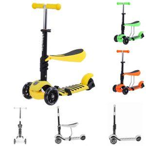 Kikkaboo Scooter 3 in 1 Rutscher 3 Räder Höhe einstellbar LED weiche Gummigriffe gelb