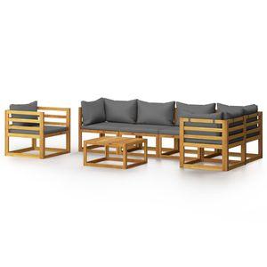 Hochwertigen Garten Sitzgruppe Gartengarnitur - 7-teiliges Garten-Lounge-Set - Gartengarnitur Set mit Auflagen Massivholz Akazie☆6974