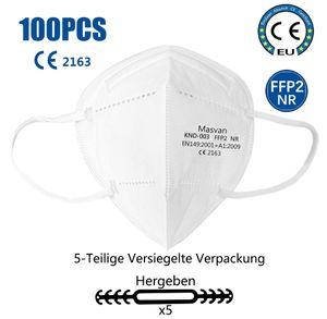 100x  FFP2 Maske, Atemschutzmaske  Mundschutz Gesichtsmasken mit Maskenband