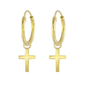Kreuz Creolen Ohrringe Silber 925 gold