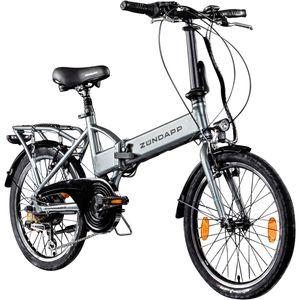 Zündapp Z101 20 Zoll E Klapprad E-Bike Pedelec StVZO Elektrofaltrad 6 Gänge Faltrad, Farbe:silber