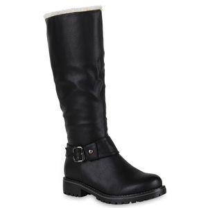 Mytrendshoe Warm Gefütterte Damen Stiefel Biker Boots Winter Bikerstiefel 813736, Farbe: Schwarz, Größe: 39