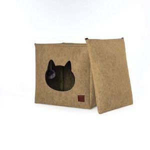 Pets&Partner® Katzenhöhle / Katzenbett aus Filz mit Kissen und  Katzenspielzeug | Passend für Ikea Kallax und Expedit Regal, Schwarz