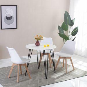 HJ WeDoo Rund Esstisch Küchentisch Esszimmertisch Kaffetisch, 80x80x75 cm, Weiß