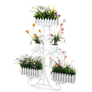 5 Stufen Blumenständer Metall Pflanzentreppe Garten Blumenregal Pflanzregal Pflanzentreppen Farbe: Weiss