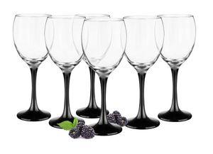 6 Weingläser 300ml mit schwarzen Füßen Weinglas Weißweingläser Rotweingläser Weinkelche