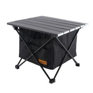 Campingtisch Klapptisch Gartentisch Falttisch aus Aluminium Schwarz Campingmöbel 39,7 x 35 x 31,5 cm mit Tasche