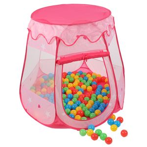 KIDUKU® Kinderspielzelt Pink mit 100 Bällen und Tasche Spielhaus Bällebad Schloss für drinnen und draußen