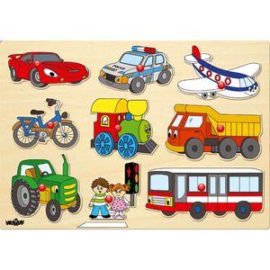 Kinder Holz Steckpuzzle mit Fahrzeugen / Holzspielzeug Puzzle