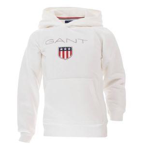 Gant Kinder Unisex Kapuzenpullover Sweat Hoodie Shield Logo, Größe:134/140, Farbe:Weiß(113)