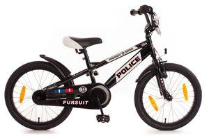 18 Zoll Fahrrad Kinder Jungen Mädchen Kinderfahrrad Jungenfahrrad Polizei Fahrrad Kinderrad Rad Bike Unisex Rücktrittbremse Rücktritt Police Schwarz Weiß 554-PC-32