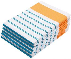 5er Set Geschirrtücher, Baumwolle, 50x70 cm, weiß mit Streifen orange türkis