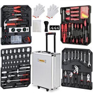 Monzana Werkzeugkoffer XXL gefüllt Set 899tlg Qualitätswerkzeug Werkzeugkasten Werkzeugkiste Werkzeugtrolley silber