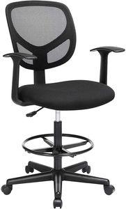 SONGMICS Bürostuhl mit Armlehnen, 360° Drehstuhl, Schreibtischstuhl mit Netzbespannung, ergonomischer Computerstuhl, höhenverstellbare Fußstütze, Arbeitsstuhl, für Stehschreibtische, schwarz OBN25BK