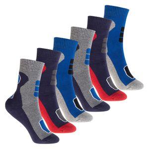 Footstar 6 Paar Kinder Frottee Socken mit Thermo-Effekt - Variante 2 Blau Rot 31-34