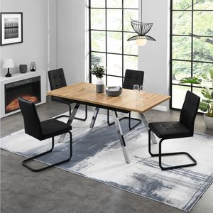B&D home Esszimmerstuhl 4er Set, Kunstleder schwarz, Freischwinger, Polsterstuhl, Schwingstuhl, vintage, für esszimmer, bis 110 kg belastbar