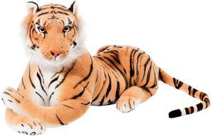 BRUBAKER Tiger braun 75 cm liegend Stofftier Plüschtier