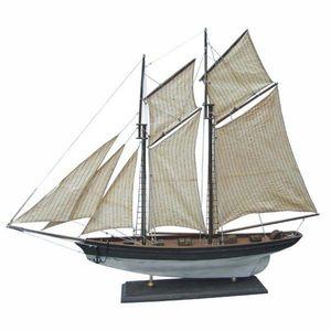 Modell Schiff, Zweimast Gaffel Yacht, stark gealterte Modell Segelyacht