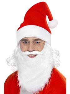 Kostüm Zubehör Weihnachtsmann Bart Brille Mütze Weihnachten