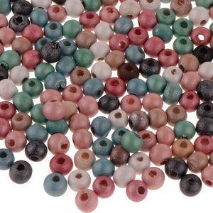 1 paket Holzperlen Großes Loch Spacer Perle für Schmuckherstellung 6mm 300 stücke Mehrfarbig 6mm 300st