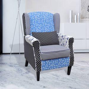 【Neu】Sessel Sessel mit Patchwork-Design StoffMöbel-Stühle-Sessel im Landhaus-Stil