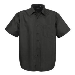 LAVECCHIA Herren Kurzarm Hemd Schwarz Große Größen, Größe:7XL