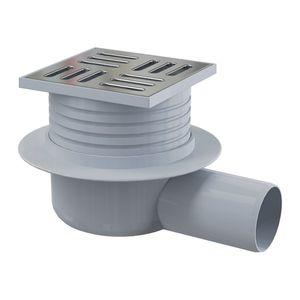 Bodenablauf Waagerecht 105X105 DN 50 Duschablauf Badablauf Edelstahl begehbare Dusche  Flach Siphon Geruchsverschluss