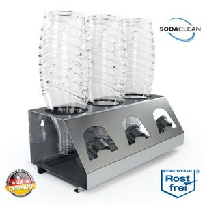 SodaClean® Premium 3er Flaschenhalter mit Abtropfwanne - für SodaStream Duo Crystal Flaschen | aus hochwertigem Edelstahl - Abtropfhalter Abtropfständer inkl. Deckelhalterung | Easy,Fuse,Power,Emil UVM.