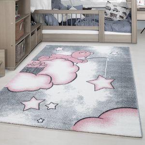 Bärchen Wolken Kurzflor Kinderteppich Kinderzimmer Babyzimmer Teppich Grau Pink, Grösse:120x170 cm