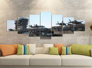 Leinwandbilder 7 Tlg 280x100cm  Flugzeug Flugzeugträger Krieg Schiff    Leinwand Bild Teile teilig Kunstdruck Druck Vlies Wandbild mehrteilig 9YB810, Leinwandbild 7 Tlg:ca. 280cmx100cm