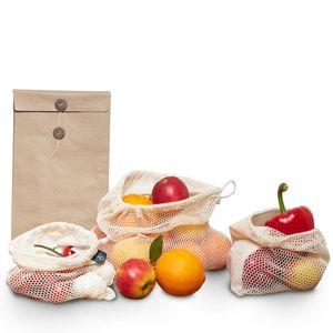 achilles 3er Set Obst- und Gemüsebeutel Baumwollnetze in drei Größen plus Brotbeutel