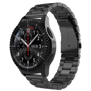 Zubehör für Samsung Gear S3 Frontier / Classic 22mm Ersatz Armband Uhr Metall Band Edelstahl (Schwarz)