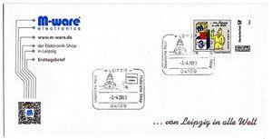 FDC 3cent Briefmarke 'von Leipzig in alle Welt' M-ware® ID12883
