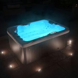 TroniTechnik Outdoor Whirlpool Spa LEVANZO weiß 195cm x 135cm mit Heizung, Hydromassage, Bluetooth und Farblichtherapie, Lieferumfang:Ohne weiteres Zubehör