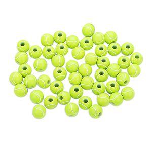 50 Stück Tennis Design Runde Acrylperlen Kinderperlen für DIY Schmuck Handwerk Basteln