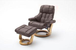 Sessel Relaxer 180 mit Hocker 100 % Echt Leder Formholz braun natur Galaxy XXL