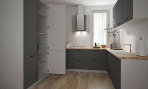 Küchenzeile Küchenblock Küche U-Form 120x240x225cm weiß / graphit