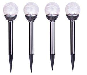 Best Season 47737 LED-Solar-Stäbe mit Kugel 4-er Set 39 x 8 cm, silber 4 Stück Solar LED Gartenstecker Gartenleuchte Leuchte Solarleuchte Glaskugel Lampe Glaskugellampe Leuchten Gartenleuchten Lampen