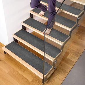 14 Stufenmatten Innen/Aussen 15,2 x 76,2 cm, rutschfest, zuschneidbar, grau