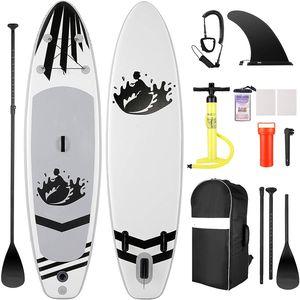 Aufblasbares Stand Up Paddle Board (305 × 76 × 15 cm SUP), iSUP-Paket mit Premium-SUP-Zubehör und Rucksack, breites rutschfestes Deck, große Flosse, verstellbares Paddel, Leine, Handpumpe, Jugend und Erwachsene