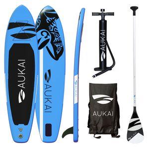 "Aukai® Stand Up Paddle Board 320cm ""Ocean"" SUP Surfboard aufblasbar + Paddel Surfbrett Paddling Paddelboard - blau"