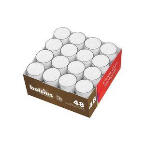 Bolsius Teelichte im Clear-Cup 8h palmölfrei, weiß (48er Pack)