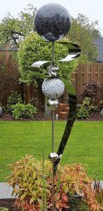 Skulptur Saturn Kugel anthrazit Edelstahl 160 cm Beetstecker Gartenstecker