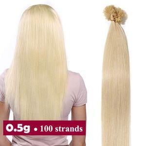 S-noilite Extensions Echthaar Bondings Haarverlängerung Keratin U-Tip Human Hair 100 Strähnen Hellblond 40 cm